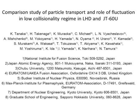 Comparison study of particle transport and role of fluctuation in low collisionality regime in LHD and JT-60U K. Tanaka 1), H. Takenaga 2), K. Muraoka.