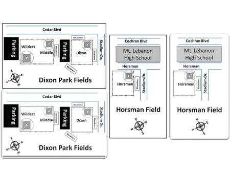 Parking Stadium Dr. Middle Dixon Cedar Blvd Wildcat Bleachers Dixon Park Fields.