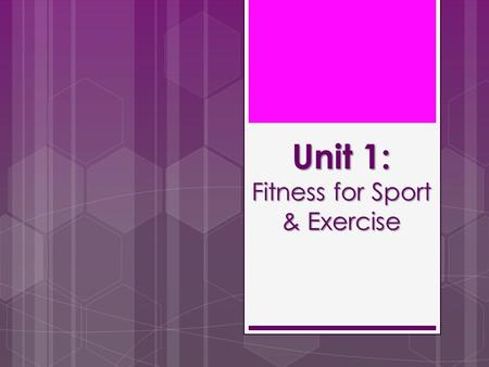 Unit 1: Fitness for Sport & Exercise. Let's Get Started!  Planners out  Equipment out (Pens, Pencils, Ruler etc.)  Bags under desks  Ready to Learn!