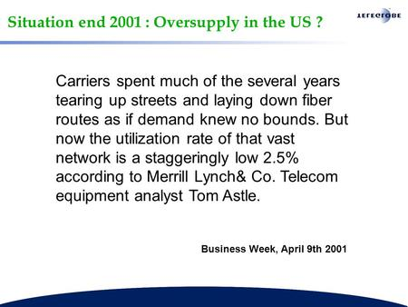 Situation end 2001 : Oversupply in the US ? Carriers spent much of the several years tearing up streets and laying down fiber routes as if demand knew.