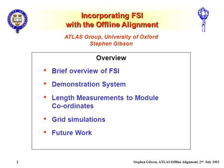 Stephen Gibson, ATLAS Offline Alignment, 2 nd July 2002 1 Incorporating FSI with the Offline Alignment Overview ATLAS Group, University of Oxford Stephen.