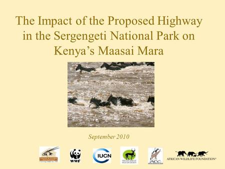 The Impact of the Proposed Highway in the Sergengeti National Park on Kenya's Maasai Mara September 2010.
