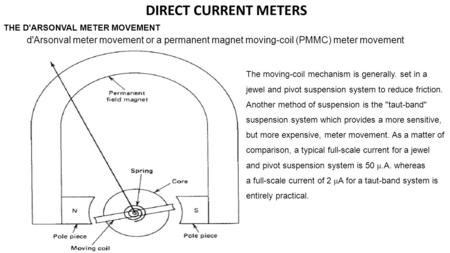 D'Arsonval meter movement or a permanent magnet moving-coil (PMMC) meter movement THE D'ARSONVAL METER MOVEMENT The moving-coil mechanism is generally.