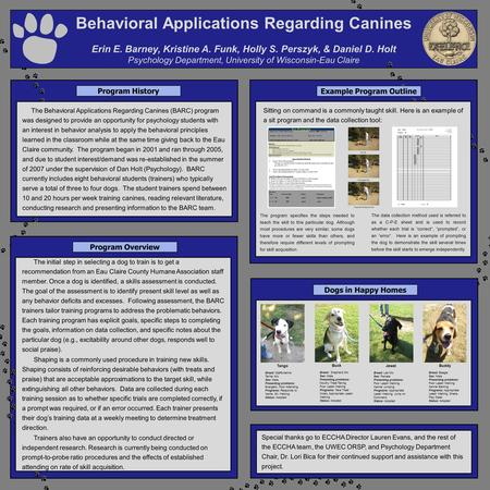 Behavioral Applications Regarding Canines Erin E. Barney, Kristine A. Funk, Holly S. Perszyk, & Daniel D. Holt Psychology Department, University of Wisconsin-Eau.