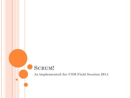 S CRUM ! As implemented for CSM Field Session 2014.