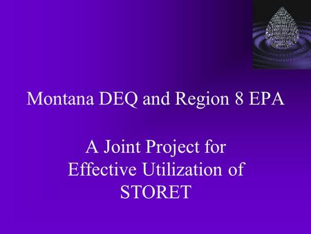 Montana DEQ and Region 8 EPA A Joint Project for Effective Utilization of STORET.