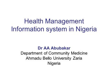 Health Management Information system in Nigeria