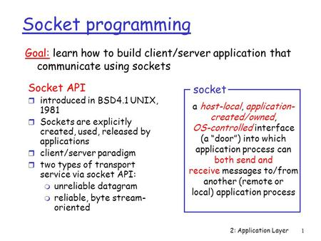 2: Application Layer1 Socket programming Socket API r introduced in BSD4.1 UNIX, 1981 r Sockets are explicitly created, used, released by applications.