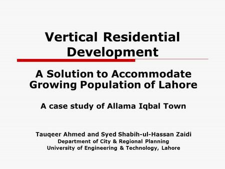 Vertical Residential Development