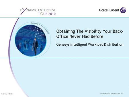 All Rights Reserved © Alcatel-Lucent 2010 1 |Genesys IWD 2010 Genesys intelligent Workload Distribution Obtaining The Visibility Your Back- Office Never.