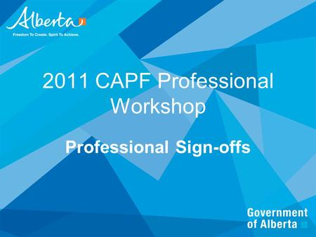 2011 CAPF Professional Workshop Professional Sign-offs.