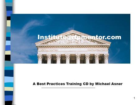 1 A six-pack of major RFP problems A Best Practices Training CD by Michael Asner