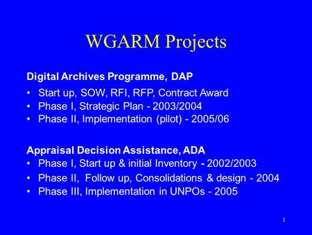1 WGARM Projects Digital Archives Programme, DAP Start up, SOW, RFI, RFP, Contract Award Phase I, Strategic Plan - 2003/2004 Phase II, Implementation (pilot)