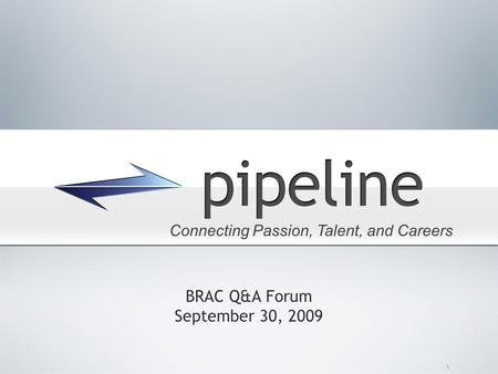 \ BRAC Q&A Forum September 30, 2009 Connecting Passion, Talent, and Careers.
