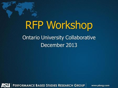 RFP Workshop Ontario University Collaborative December 2013.