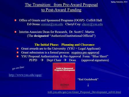 The Transition: from Pre-Award Proposal to Post-Award Funding Office of Grants and Sponsored Programs (OGSP)- Coffelt Hall Ed Orona: Cheryl.