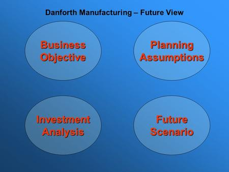 Business Objective Planning Assumptions Future Scenario Investment Analysis Danforth Manufacturing – Future View.