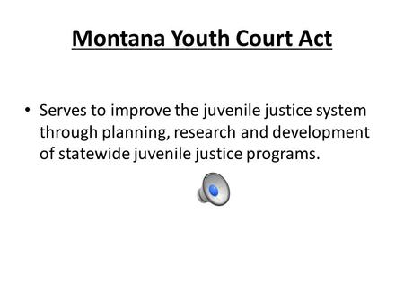 Montana Youth Court Act Serves to improve the juvenile justice system through planning, research and development of statewide juvenile justice programs.