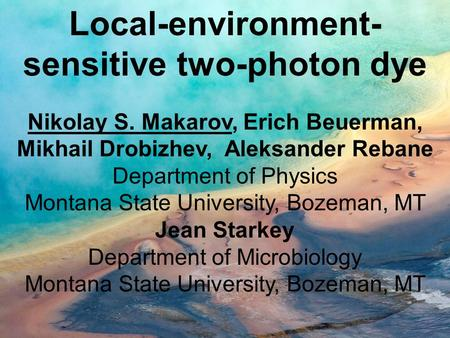 Local-environment- sensitive two-photon dye Nikolay S. Makarov, Erich Beuerman, Mikhail Drobizhev, Aleksander Rebane Department of Physics Montana State.