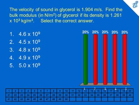 The velocity of sound in glycerol is m/s