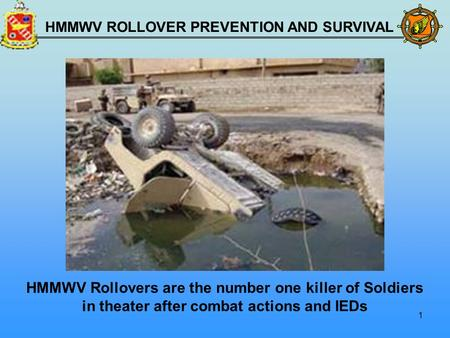 HMMWV ROLLOVER PREVENTION AND SURVIVAL 1 HMMWV Rollovers are the number one killer of Soldiers in theater after combat actions and IEDs.
