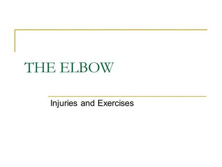 THE ELBOW Injuries and Exercises. ELBOW INJURIES Acute Chronic (overuse)