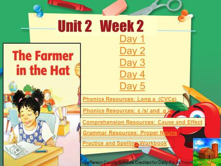 HOME Unit 2 Week 2 Phonics Resources: Long a (CVCe) Phonics Resources: c /s/ and g /j/ Comprehension Resources: Cause and Effect Grammar Resources: Proper.