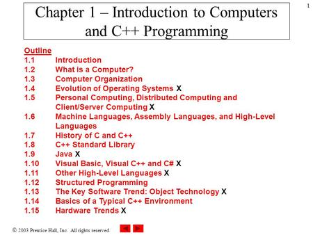  2003 Prentice Hall, Inc. All rights reserved. 1 Chapter 1 – Introduction to Computers and C++ Programming Outline 1.1 Introduction 1.2 What is a Computer?