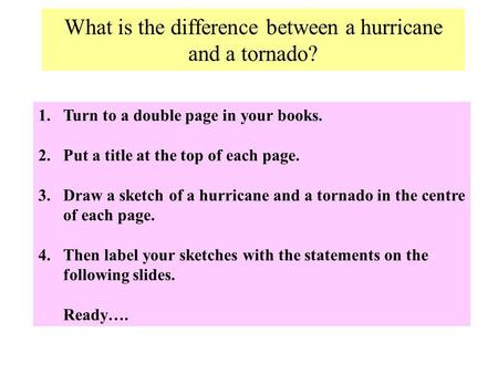 What is the difference between a hurricane and a tornado? 1.Turn to a double page in your books. 2.Put a title at the top of each page. 3.Draw a sketch.
