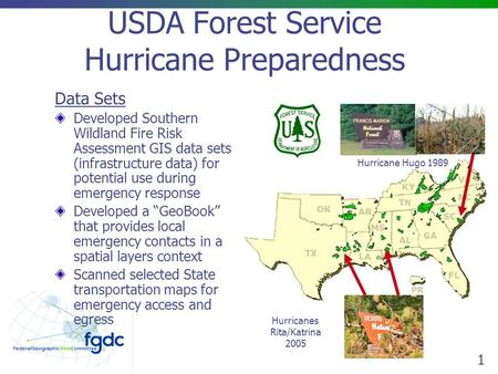 1 USDA Forest Service Hurricane Preparedness Data Sets Developed Southern Wildland Fire Risk Assessment GIS data sets (infrastructure data) for potential.