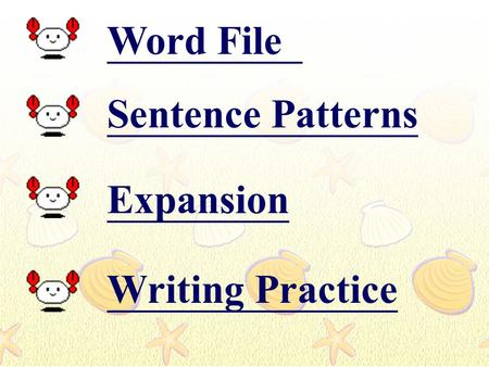 Word File Sentence Patterns Expansion Writing Practice.