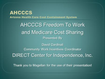 AHCCCS Arizona Health Care Cost Containment System