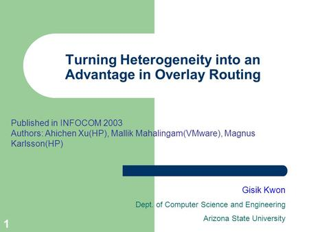 1 Turning Heterogeneity into an Advantage in Overlay Routing Gisik Kwon Dept. of Computer Science and Engineering Arizona State University Published in.