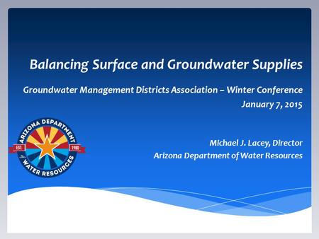 Balancing Surface and Groundwater Supplies