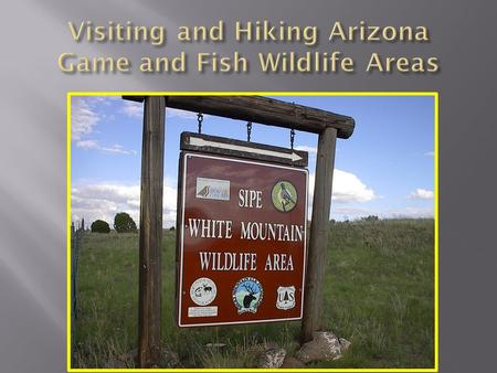  Wildlife areas primarily managed for the benefit of native wildlife. Arizona Game and Fish also encourages appropriate public uses.  Hiking is considered.