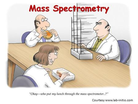 Mass Spectrometry Courtesy www.lab-initio.com. Purpose of Mass Spectrometry  Produces spectra of masses from the molecules in a sample of material, and.