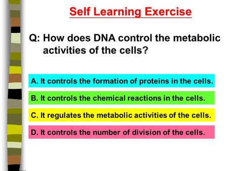 Self Learning Exercise Q: How does DNA control the metabolic activities of the cells? A. It controls the formation of proteins in the cells. B. It controls.