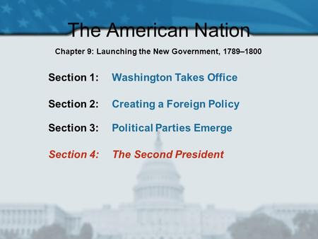 The American Nation Section 1: Washington Takes Office Section 2: Creating a Foreign Policy Section 3: Political Parties Emerge Section 4: The Second President.