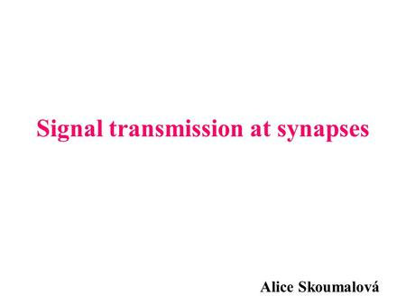 Signal transmission at synapses Alice Skoumalová.