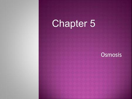 Osmosis Chapter 5.  REVIEW: An important function of cell membrane is to regulate the movement of dissolved molecules from the liquid on one side of.