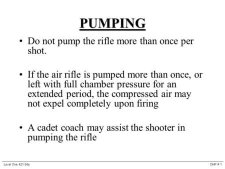 PUMPING Do not pump the rifle more than once per shot. If the air rifle is pumped more than once, or left with full chamber pressure for an extended period,