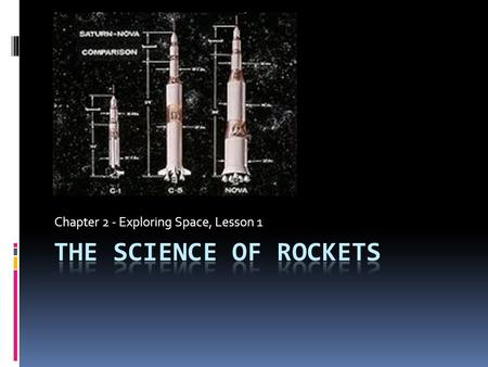 Chapter 2 - Exploring Space, Lesson 1. The History of Rockets  Rocket technology originated in China hundreds of years ago and gradually spread to other.