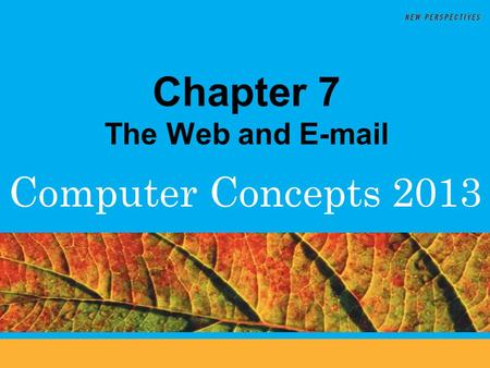 Computer Concepts 2013 Chapter 7 The Web and E-mail.