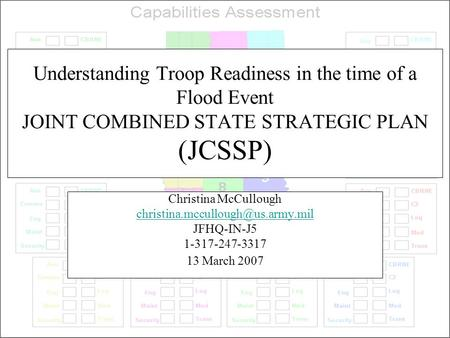 Understanding Troop Readiness in the time of a Flood Event JOINT COMBINED STATE STRATEGIC PLAN (JCSSP) Christina McCullough
