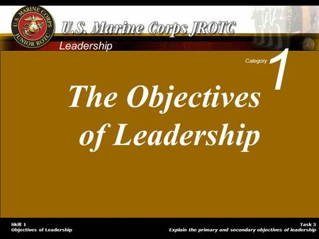 Task 3 Explain the primary and secondary objectives of leadership Skill 1 Objectives of Leadership Leadership 1 Category The Objectives of Leadership.
