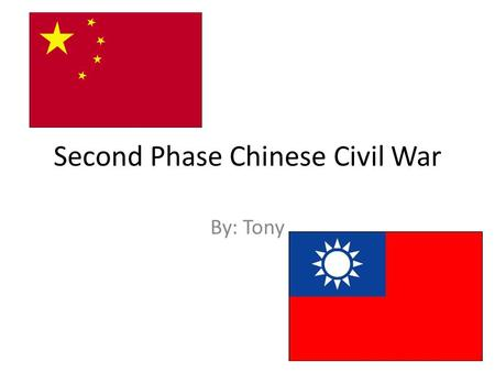 Second Phase Chinese Civil War By: Tony. Context Monarchy overthrow  Internal Strife/Weak Government First Phase – 1927 to 1937 Nationalists (GMD) winning.