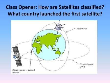 Class Opener: How are Satellites classified? What country launched the first satellite?