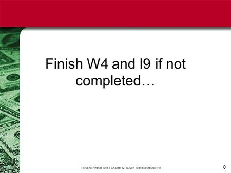 0 Finish W4 and I9 if not completed… Personal Finance Unit 4 Chapter 12 © 2007 Glencoe/McGraw-Hill.