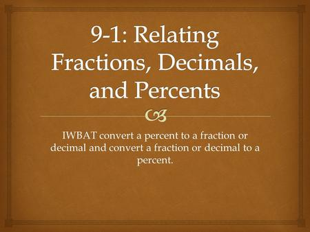9-1: Relating Fractions, Decimals, and Percents