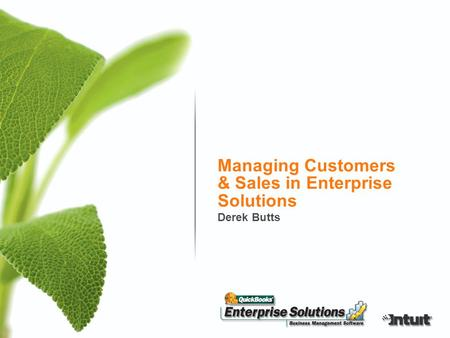 Managing Customers & Sales in Enterprise Solutions Derek Butts.